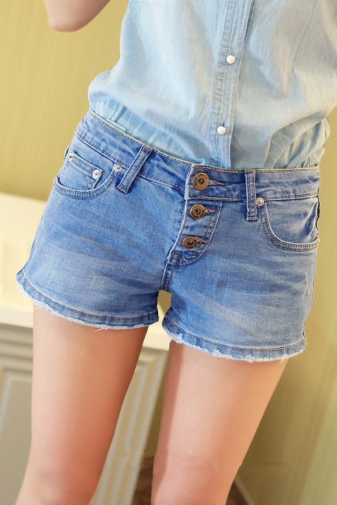 2013 spring and summer of the new multi-buckle edging denim shorts shorts