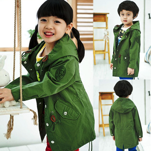 2013 spring boys clothing girls clothing casual with a hood trench medium-long outerwear fashion overcoat