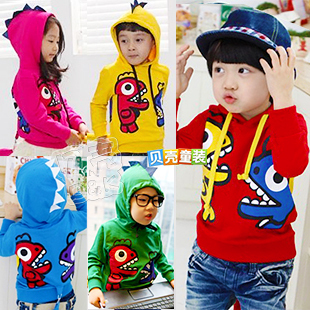 2013 spring boys clothing girls clothing child fleece with a hood sweatshirt outerwear wt-0096