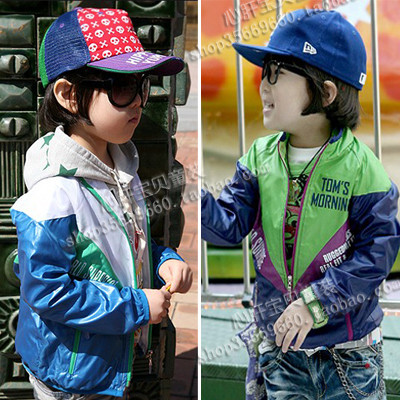 2013 spring children's clothing male child color block decoration trench jacket zipper child cardigan e wt37
