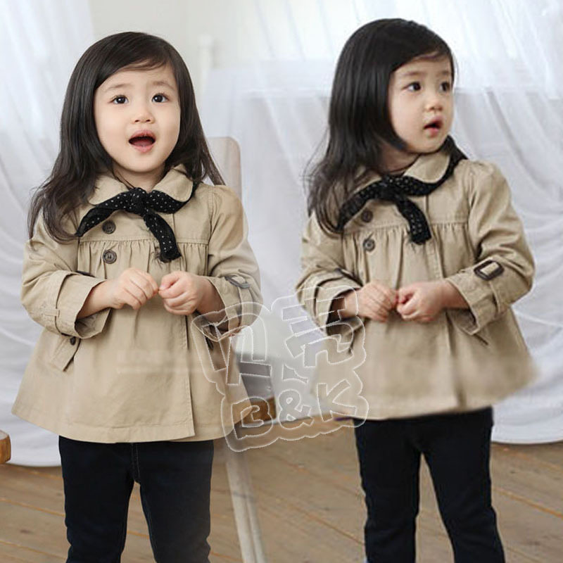 2013 spring cute girls clothing baby short design trench outerwear wt-0683