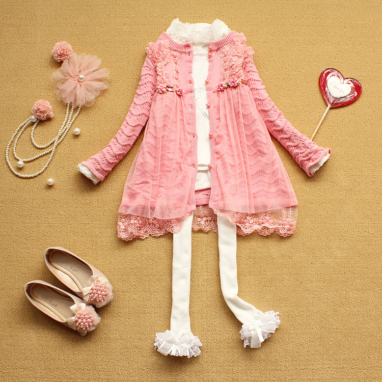 2013 spring female child outerwear ultra long knitted one-piece dress trench twinset outerwear