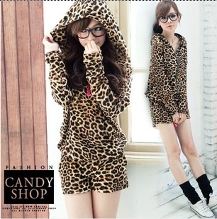 2013 Spring New Arrive Free Shipping Women's Casual Sports With  Hood Drawstring Backwards Leopard Print Set Jumpsuits