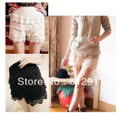2013 Spring New Fashion Lace Tiered Short Skirt Under Safety Pants Shorts
