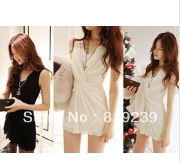 2013 spring new Korean women's nightclub sexy temperament noble sleeveless V-neck waist dress