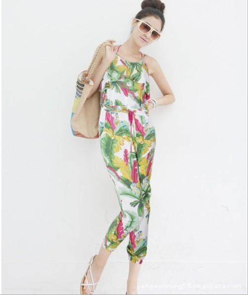 2013 SPRING NEW Womens Bohemian Floral  Jumpsuit Playsuit  Long Harem Pants S M L,CQ001