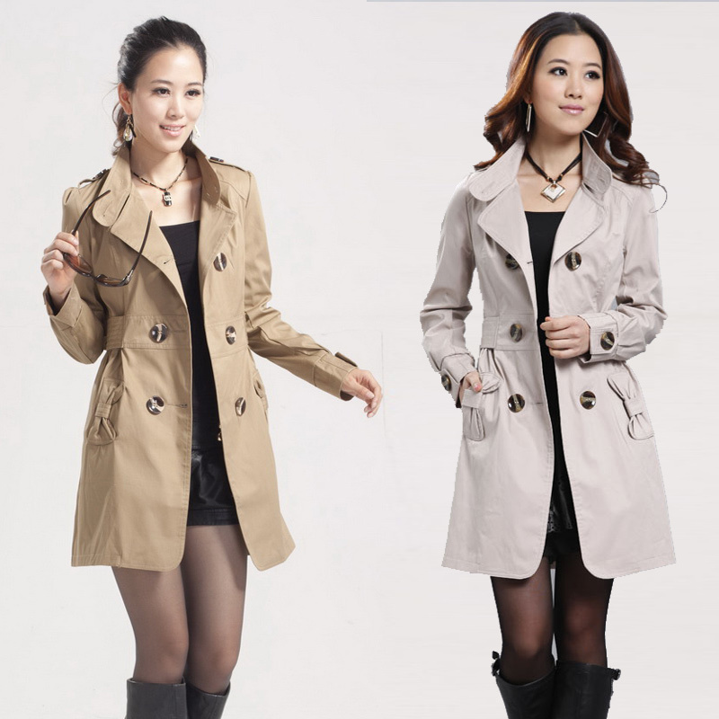 2013 Spring Slim Fashion Double Breasted Trench Casual Long Design Outerwear Cotton Women Coat