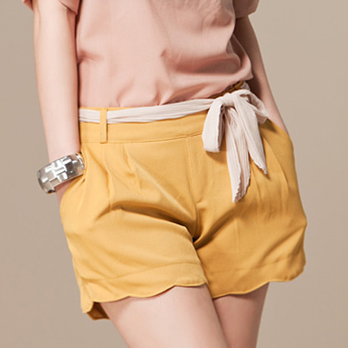 2013 spring summer new arrival all-match soild color wave edge overalls shorts for women/yellow blue orange/S M L/ss04