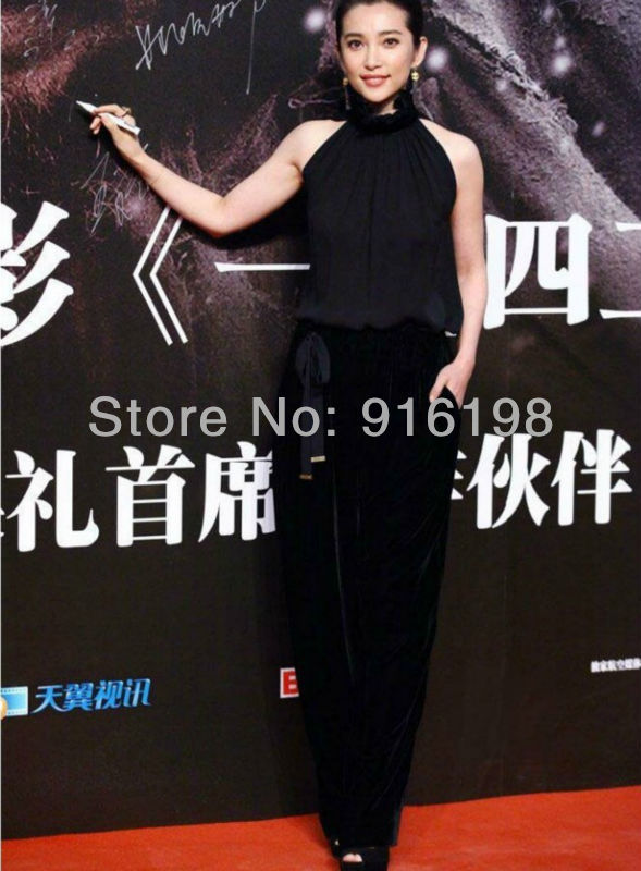 2013 spring summer new retail Star love Style women sleeveless Velvet jumpsuits lady fashion black sexy rompers club party wear