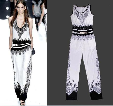 2013 Spring/Summer Runway Fashion Ladies Black & White Colorblock Print Sleeveless Jumpsuit Casual Overalls Rompers