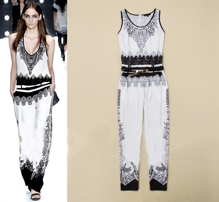 2013 Spring/Summer Runway Fashion Ladies Black & White Colorblock Print Sleeveless Jumpsuit Casual Overalls Rompers SS13026