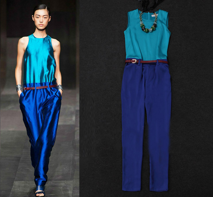 2013 Spring/Summer Women's French Fashion Colorblock Vintage Jumpsuit Ladies' Casual Rompers Overalls SS13018