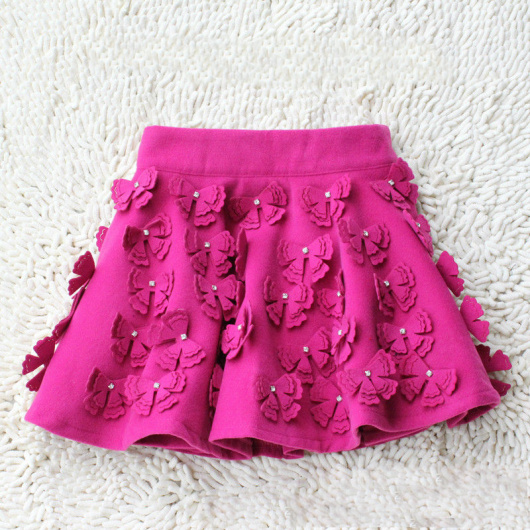 2013 spring vintage women's woolen bow with diamond bud short skirt bust skirt
