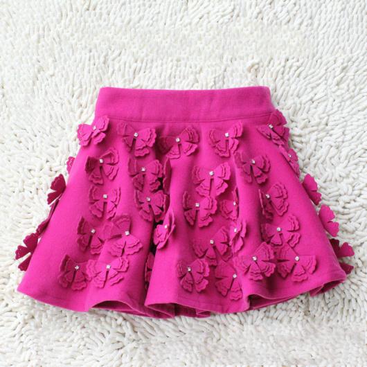 2013 spring vintage women's woolen bow with diamond bud short skirt bust skirt