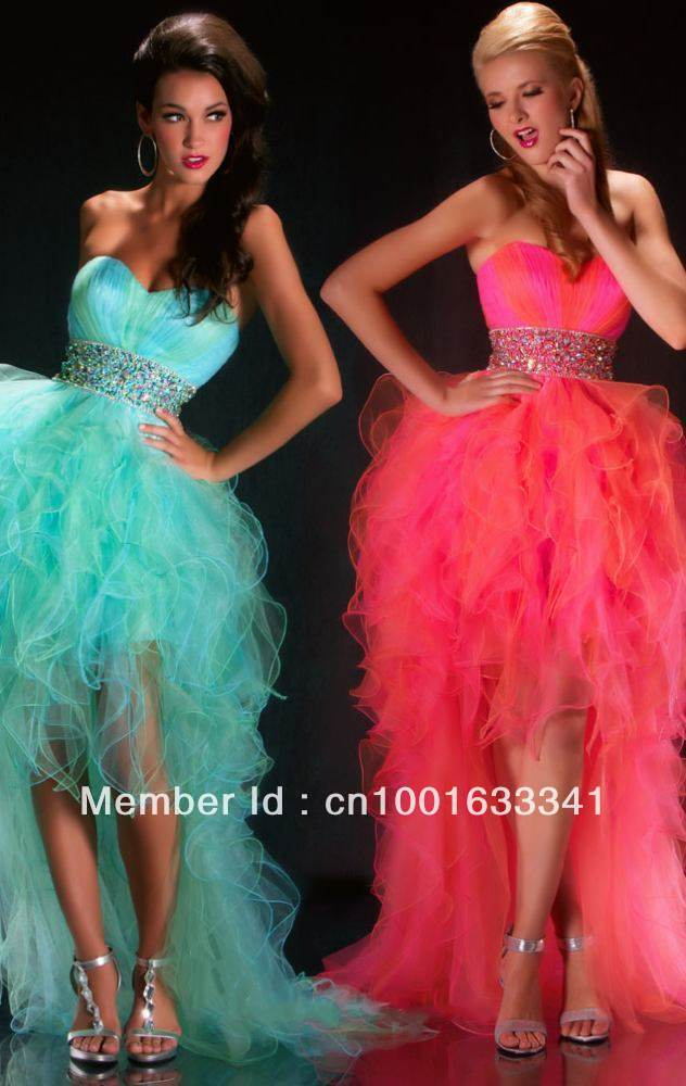 2013 Stock New Blue/Pink Hi-Lo Beaded Organza Wedding Prom Dresses Bridal Gown/Evening Dresses SZ :6-16 Free Shipping