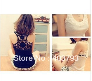 2013 summer 1616 summer the lotus leaf collar back hollow lace hook flower small vest 5pcs wholesale FREE SHIPPING