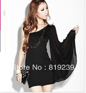 2013 summer clothing the new Women nightclubs oblique sexy strapless chiffon sleeves package hip dress dress evening wear