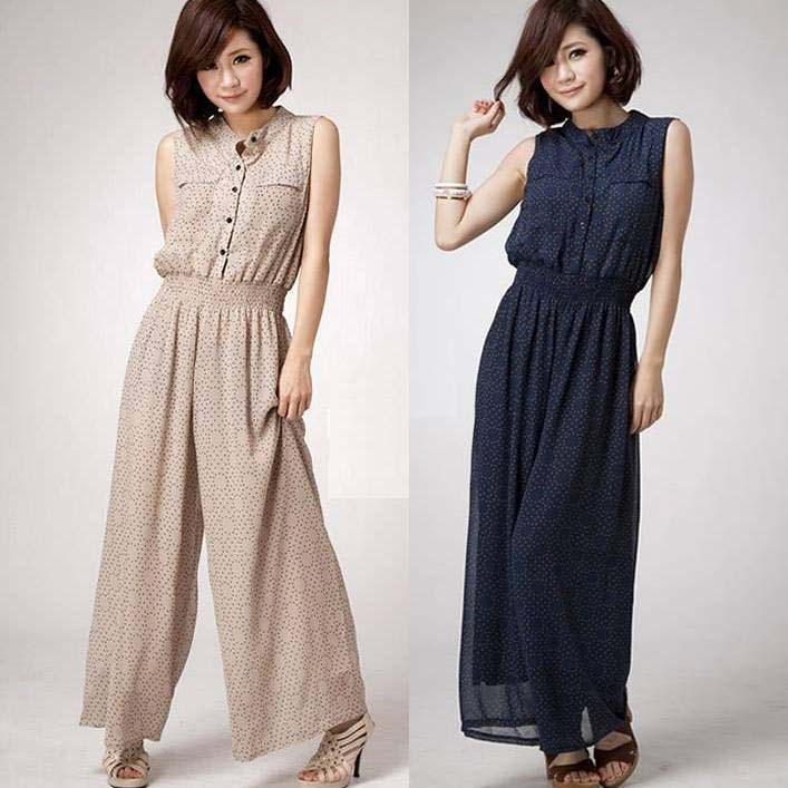 2013 summer fashion women new little printing breasted large size waist chiffon overall jumpsuit pants 2 colors W3467