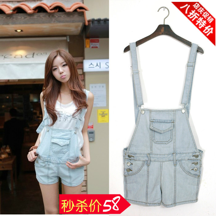 2013 summer gossip button detachable suspenders shorts one piece denim spaghetti strap pants