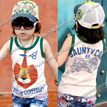 2013 summer lion boys clothing girls clothing baby vest tx-0411