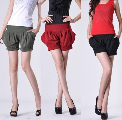 2013 Summer New Arrival Ladies Fashion Plus Size Pleated Shorts Harem Pants/S-XXXL/Red Gree Black/Free Shipping/C267