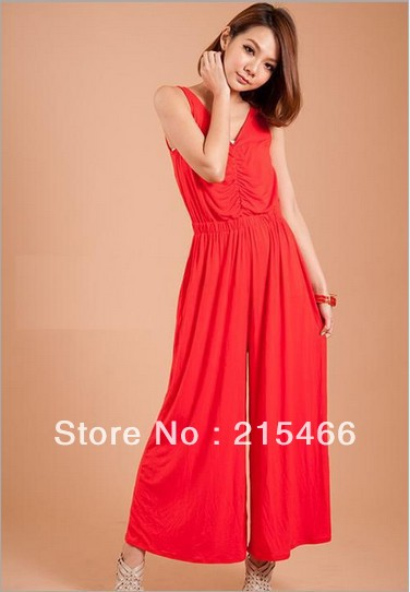 2013 Summer New Arrival Women's Fashion Black Red Cotton Blended Jumpsuits Rompers Free Shipping M/L Wholesale and Retail