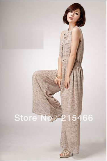 2013 Summer New Arrival Women's Fashion Elastic Waist Chiffon Dot print Jumpsuits Rompers M/L Free Size Wholesale and Retail