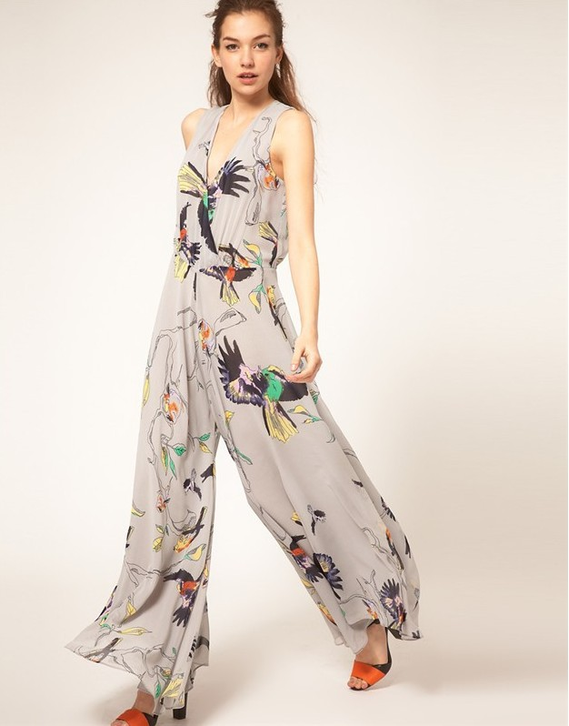 2013 summer new design Chiffon loose print culottes V-neck line  , women Fashion Jumpsuites