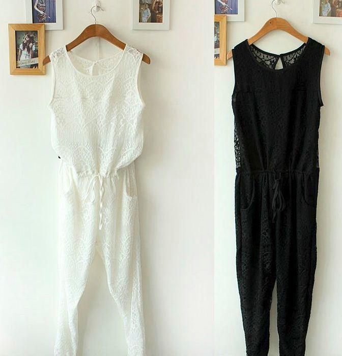 2013 summer new gentlewomen elegant lace racer backless one piecewomen fashion black white jumpsuit