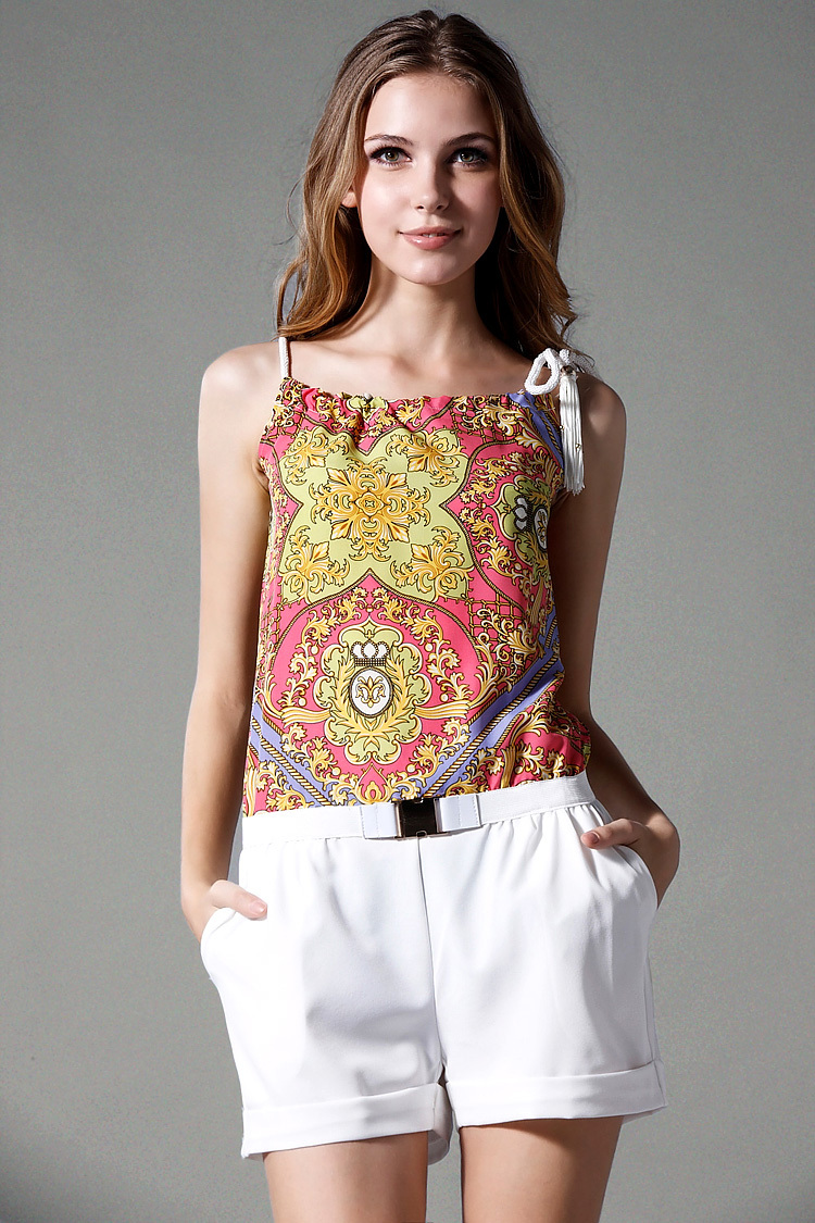 2013 summer new printed retro even garment pants condole belt wrapped chest even hot pants#29