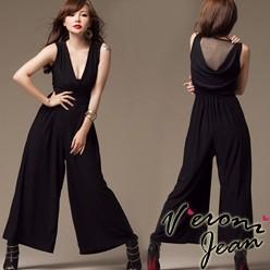 2013 Summer NEW Sexy back drape gauze Wide trousers Vest one-piece Pants Jumpsuit TOPS SALE Jumpsuit Free shipping J3466