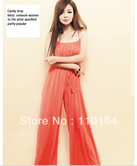 2013 Summer Spring Lady's Fashion Jumpsuit Long Trousers Women's Wide Leg Jumpsuits Pants Free shipping