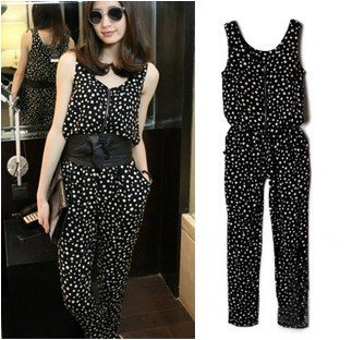 2013 summer wear new fashion haroun vest type wave point conjoined twins pants connects body trousers
