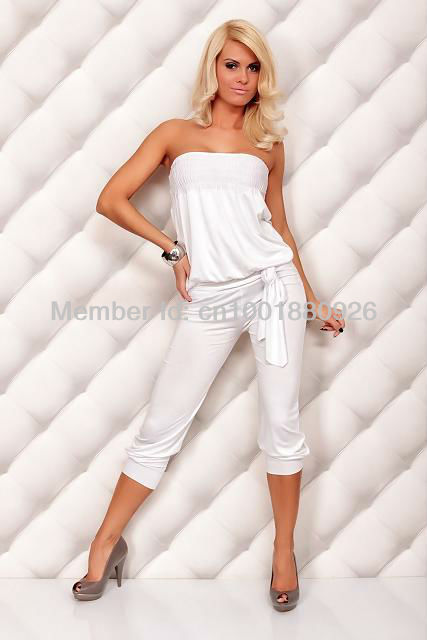 2013 Summer Winter Hot Sales Women's Jumpsuit Catsuit Ladies' Dress Tops Strapless Off Shoulder Sports White Free Shipping