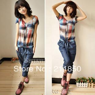 2013 summer women's fashion casual short-sleeve plaid jumpsuit hot sale