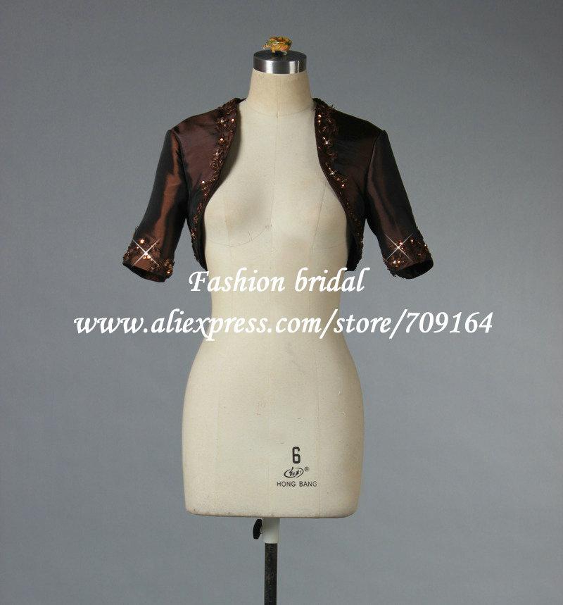 2013 Taffeta Bridal Jacket Real Sample with Sleeve Beaded A1012