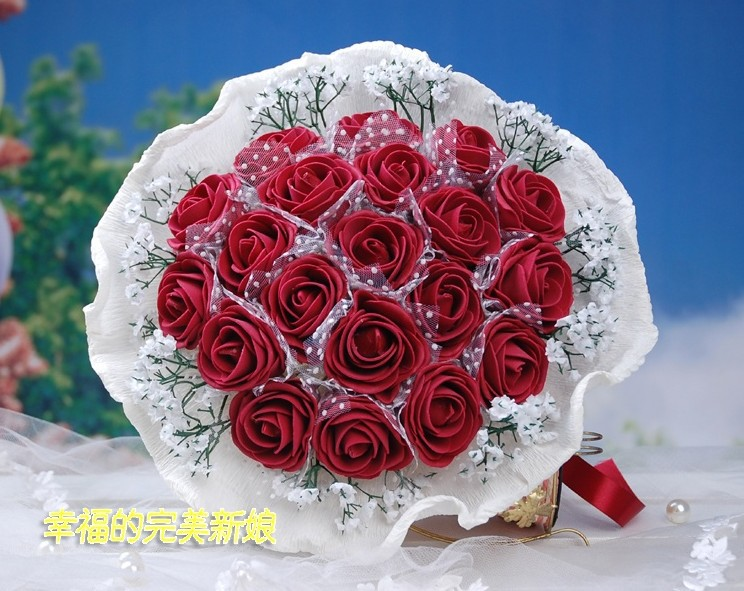 2013 the latest style sell like hot cakes bride accessories bride hand bouquet simulation rose red