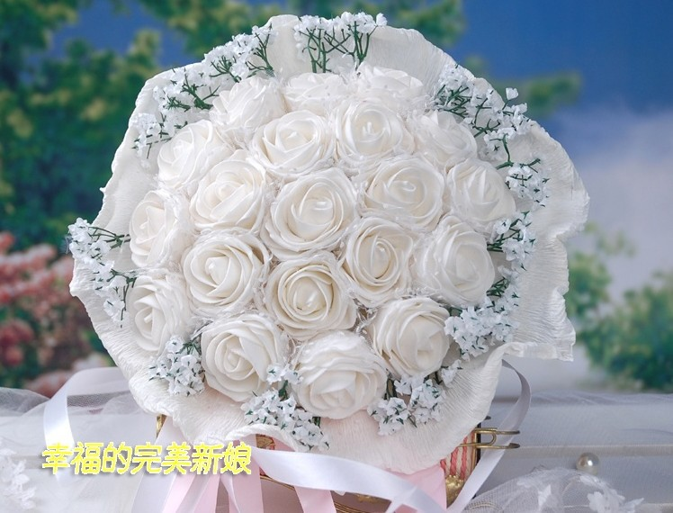 2013 the latest style sell like hot cakes bride accessories bride hand bouquet simulation rose white