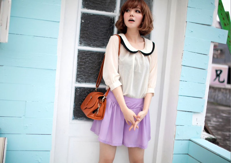2013 Top Fashion Holiday Sale Chiffon Ruffled Collar Shirt And Shorts Two-Pieces Set Free Shipping 1707969xz