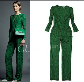 2013 Top Fashion Woman's Flower Lace Slim Long-sleeves Straight Jumpsuit