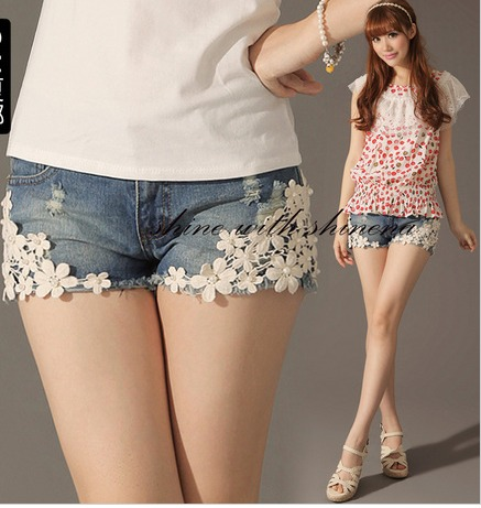 2013 water wash shorts pants lace flower beaded slim denim shorts female women lace shorts
