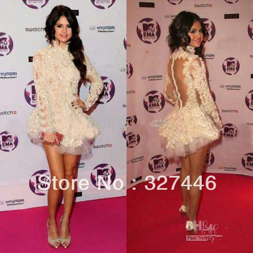 2013 Wholesale Selena Marie Gomez Sexy Backless Long Sleeves Mini Beautiful Lace Celebrity Dress Custom Made no risk shopping