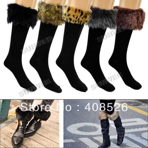 2013 Winter Warm Cotton Half Long Socks Faux Fur Purfle Cover Boot Shoes Snow Stockings 5 Colors free shipping 9262