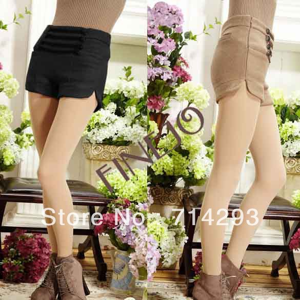 2013 Women's Double-breasted Empire-waist Woolen Shorts Winter  free shipping 9328