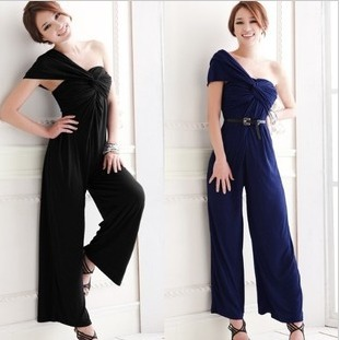 2013 ,Women's jumpsuit one-shoulder sexy  loosen kink design free shipping
