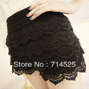 2013 women's multi-layer lace cutout crochet shorts legging