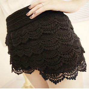 2013  Women's multi-layer lace cutout crochet shorts solid color sexy safety pants basic skirt pants