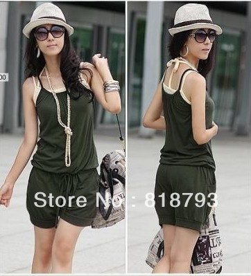 2013 women 's new summer fashion sexy jumpsuit shorts suspenders Jumpsuit + free shipping