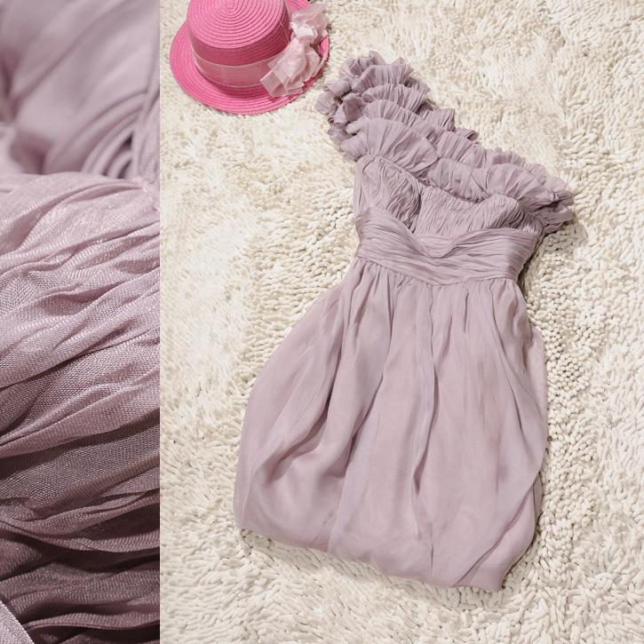 2013 women's solid color sweet elegant one shoulder pleated slim waist one-piece dress formal dress evening dress