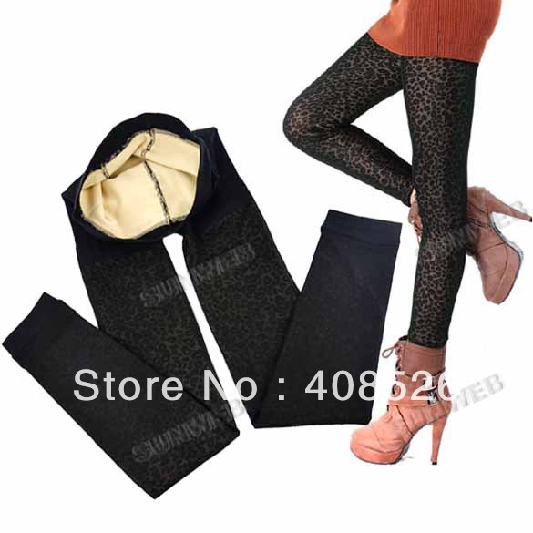 2013 Women's Winter Diamond Patterned Leopard Stretch Leggings Thick Tights Pants Stockings free shipping 8609